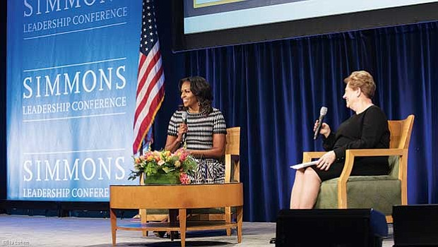 Former First Lady Michelle Obama and Simmons College President Helen G. Drinan share the stage during the Simmons Leadership Conference last week.