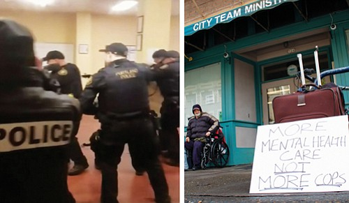 "Cell phone video (left) from a bystander identified as Morgan Pickering and uploaded to Instagram captures police officers aiming their weapons at a man wielding a knife inside the City Team Ministries building in southeast Portland Saturday night.   The sign ""More Mental Care Not More Cops"" (right) was posted by activists during a vigil Sunday night and remained in front of the shelter on Monday."