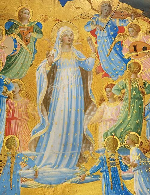 """Fra Angelico (Italian, about 1400-1455), """"The Dormition and Assumption of the Virgin"""" (detail), 1430-1434. Tempera on panel, 61.8 x 38.3 cm (24 5/16 x 15 1/16 in.)"""