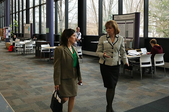 Illinois Lt. Governor Evelyn Sanguinetti made a stop in town for a tour at Joliet Junior College's main campus.