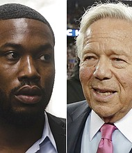 At left, rapper Meek Mill arrives at the criminal justice center in Philadelphia. At right, New England Patriots owner Robert Kraft. (AP Photo/File)