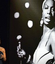 Presenter Mary J. Blige honors Nina Simone during the Rock and Roll Hall of Fame induction ceremony, Saturday, April 14, 2018, in Cleveland. (AP Photo/David Richard)
