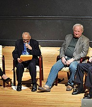 (left to right) Carmen Lennon, IBA board member, moderates panel discussion with Victor Feliciano, a founder of IBA; John Sharratt, architect and designer of Villa Victoria; and Paul Grogan, president and CEO of The Boston Foundation.