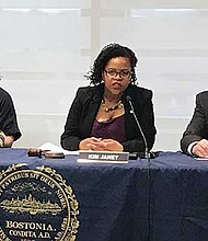 Boston City Councilors Michelle Wu, Kim Janey and Michael Flaherty lead the discussion at hearing on small businesses.