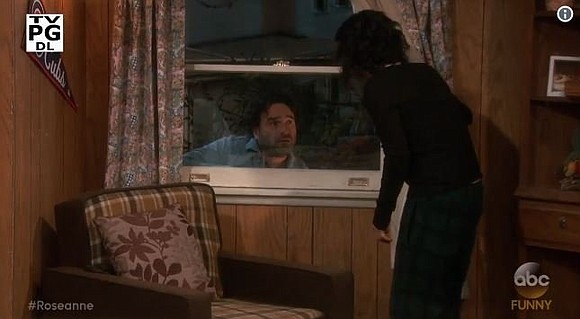 "David is back to climbing in through windows on ""Roseanne."" Johnny Galecki will make a guest appearance on Tuesday's episode ..."