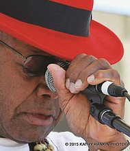 Norman Sylvester overcome with emotion after singing in tribute to the late Janice Scroggins and Linda Hornbuckle at the Waterfront Blues Festival in 2015. A staple of the Portland blues scene for the past 40 years, Sylvester will front a Saturday benefit concert with more than a dozen of other musicians in a push for universal healthcare.