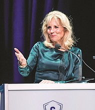 Former Second Lady Dr. Jill Biden in Portland Saturday for Concordia University's 2018 Gov. Victory Atiyeh Leadership in Education Awards. In her keynote speech, Biden praised Portland educational leaders for instituting new public and private partnership between Concordia University and Faubion Elementary that serves as a shining example of making powerful changes in education that can lift an entire community.