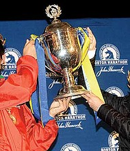 The African winning dynasty was broken in the 122nd running of the Boston Marathon with an upset victory by Yuki Kawauchi of Japan (left) with a time of 2:15:58 and American Desiree Linden with a time of 2:39:54. The cold, wet, windy day proved a significant challenge for all runners.