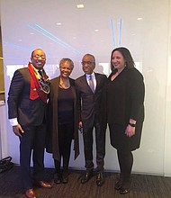 Johann Calhoun, Region I Director, NABJ Founder Allison Davis, Rev. Al Sharpton and NABJ President, Sarah Glover