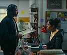 "Daveed Diggs as ""Collin"" and Janina Gavankar as ""Val"" in BLINDSPOTTING."