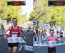 Matthew McDonald wins the men's 6.2-mile race in 30:10. // Bethany Sachtleben from Alexandria hits the finish line last Saturday, winning the women's division of the annual Monument Avenue 10K.