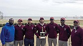 The Virginia Union University golf team shows off its trophy from the CIAA Northern Division Championship in early April in Hertford, N.C. They are, from left, Paul Meints, Allan Day, Sergio Escalante, Robel Woldagabriel, Christopher Peoples and Coach E. Lee Coble.