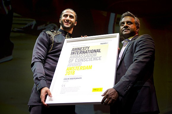 Amnesty International gave former NFL quarterback Colin Kaepernick its Ambassador of Conscience Award on Saturday for his kneeling protest of ...
