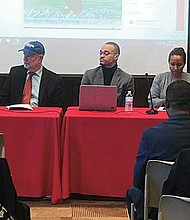 Natalícia Tracy, Tim Sieber, Amarildo Barbosa, Aminah Pilgrim and Júlio De Carvalho participate in a panel discussion on transnational identities.