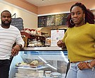 Lionel Wood and Kajaal Cupid, owners of Juice and Jazz Cafe in Codman Square.