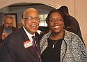 Allen Temple Church Pastor LeRoy Haynes and Oregon Supreme Court Associate Justice Adrianne Nelson attend a recent fundraiser at the home of community leader Kay Toran to raise donations and purchase customized bricks to rebuild Allen Temple after a 2015 fire.