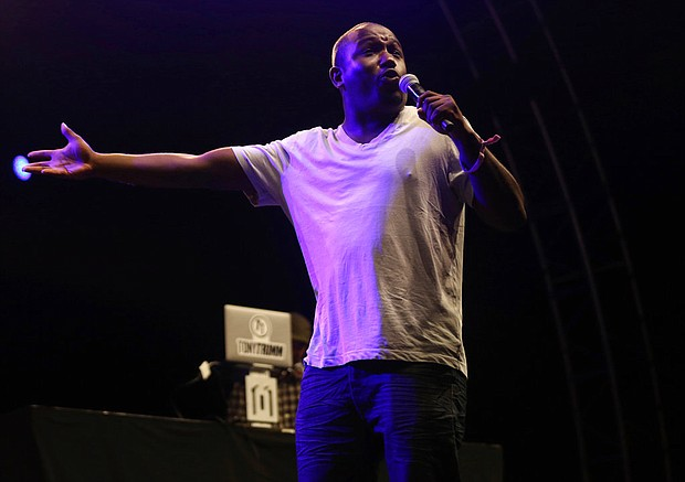 In this July 22, 2017 file photo, Hannibal Buress performs at the FYF Fest in Los Angeles. The path to Bill Cosby's conviction of drugging and molesting a woman arguably started 3 ½ years earlier in a comedy club across town in Philadelphia, when Buress mocked Cosby for his smug preachiness, then called him a rapist during his standup act. (Photo by Willy Sanjuan/Invision/AP, File)