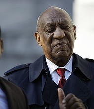 Bill Cosby arrives Thursday on the second day of jury deliberations in his sexual assault retrial at the Montgomery County Courthouse in Norristown, Pa.  (AP photo)