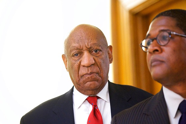 """Bill Cosby reacts while being notified a verdict was in in his sexual assault retrial, Thursday, April, 26, 2018, at the Montgomery County Courthouse in Norristown, Pa. A jury convicted the """"Cosby Show"""" star of three counts of aggravated indecent assault. The guilty verdict came less than a year after another jury deadlocked on the charges. (Mark Makela/Pool Photo via AP)"""