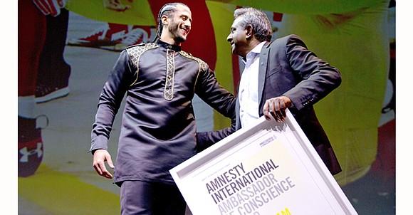 Amnesty International gave former NFL quarterback Colin Kaepernick its Ambassador of Conscience Award on Saturday for his kneeling protest of ...