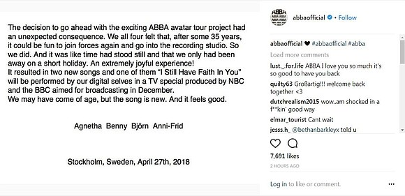 Mamma Mia! ABBA is getting the band back together. The Swedish pop group announced Friday on its official Instagram account ...