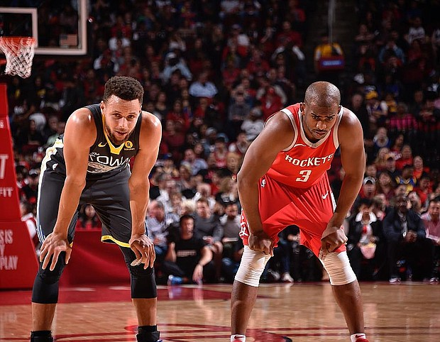 Golden State Warriors Steph Curry and Houston Rockets Chris Paul/Houston Rockets Facebook