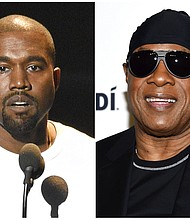 In this combination photo Kanye West speaks at the MTV Video Music Awards in New York on Aug. 28, 2016, left, and Stevie Wonder attends the TIDAL X: Brooklyn 3rd Annual Benefit Concert in New York on Oct. 17, 2017. (AP Photos)