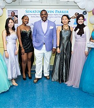 State Sen. Kevin Parker at prom dress giveaway