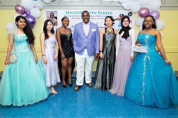 State Sen. Kevin Parker at prom dress giveaway