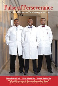 "Joseph Semien, Jr., from left, Pierre Johnson and Maxime Madhere on their book called ""Pulse of Perseverance: Three Black Doctors on Their Journey to Success."" (Aaron Cormier via AP)"