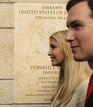 U.S. President Donald Trump's daughter Ivanka, left, and White House senior adviser Jared Kushner attend the opening ceremony of the new U.S. Embassy in Jerusalem, Monday, May 14, 2018. (AP Photo/Sebastian Scheiner)