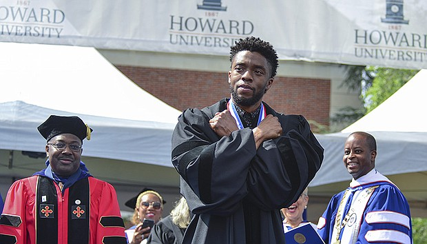 """Black Panther"" actor Chadwick Boseman delivered the commencement address during Howard University's 150th Commencement Ceremony in Washington, D.C."