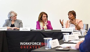 Democratic Leader Nancy Pelosi and Congresswoman Eddie Bernice Johnson lead roundtable discussion on better jobs and a 21st century workforce at Workforce Solutions Greater Dallas.
