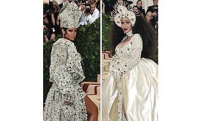 Left, Rihanna sets off cameras with her glittering outfit and matching miter at the Met Gala benefit on May 7 in New York City celebrating the opening of the exhibition, Heavenly Bodies: Fashion and the Catholic Imagination. Right, a pregnant Cardi B shows off her baby bump as she enters the benefit gala dressed as a madonna.