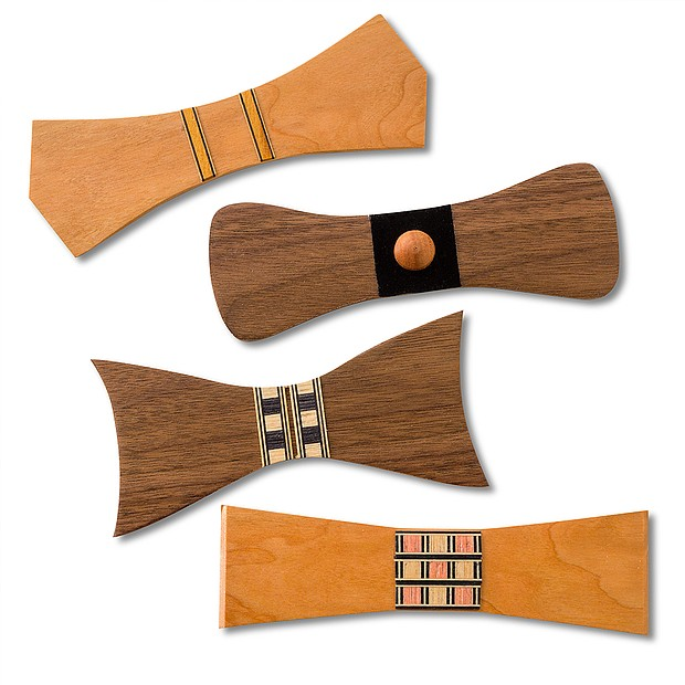 You'll choose your wood species, cut out your bow tie design, dress up your bow tie with strips of inlay, then sand and finish your piece.