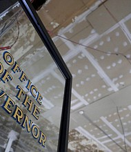 The gutted ceiling of the old office of the governor is seen during the renovation of the New Jersey Statehouse, Thursday, May 24, 2018, in Trenton, N.J. (AP Photo/Julio Cortez)