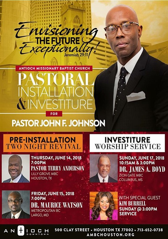 On Sunday, June 17, Antioch Missionary Baptist Church Downtown will be installing Rev. John Fitzgerald Johnson as it's 13th pastor.