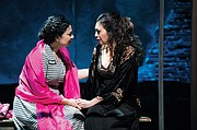 "Pilar Esperanza Castillo (Esperanza America, right) shares a jail cell with Hortencia Del Rio (Adriana Sevahn Nichols), the woman she believes to be her maid in ""Destiny of Desire,"" a story about female empowerment running through July 12 at the Oregon Shakespeare Festival in Ashland."