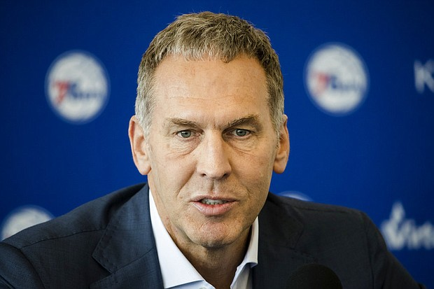 In this May 11, 2018, file photo, Philadelphia 76ers general manager Bryan Colangelo speaks during a news conference at the team's practice facility in Camden, N.J. (AP Photo/Matt Rourke, File)