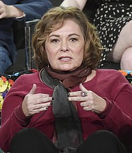 "In this Jan. 8, 2018, file photo, Roseanne Barr participates in the ""Roseanne"" panel during the Disney/ABC Television Critics Association Winter Press Tour in Pasadena, Calif. ABC canceled its hit reboot of ""Roseanne"" on Tuesday, May 29, 2018, following star Roseanne Barr's racist tweet that referred to former Obama adviser Valerie Jarrett as a product of the Muslim Brotherhood and the ""Planet of the Apes."" (Photo by Richard Shotwell/Invision/AP, File)"