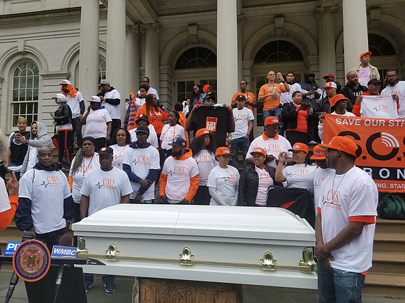 Violence intervention experts from the NYC Crisis Management System, members of the Gun Violence Awareness Month (GVAM) Coalition and several ...