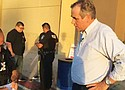 Sen. Jeff Merkely, D-Ore., was confronted by police outside an immigrant detention center in Brownsville, Texas, Sunday when he attempted to tour the facility, but was denied access.