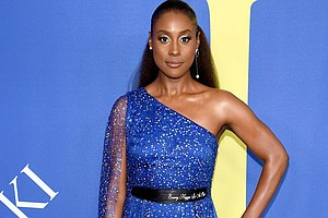"""Issa Rae dons a Pyer Moss gown with a belt that includes the song reference """"Every N***a Is a Star."""""""