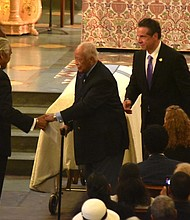 (L to R) Congressman Charles Rangel, Mayor David N. Dankins and Gov. Andrew Cuomo