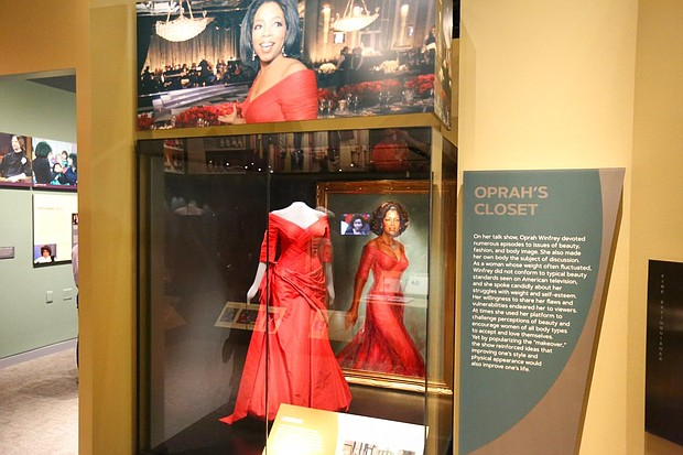 """A section of the """"Watching Oprah: The Oprah Winfrey Show and American Culture,""""exhibit is shown on display at the National Museum of African American History and Culture, Wednesday, June 6, 2018 in Washington. The exhibit runs through June 2019. (AP Photo/Tramon Lucas)"""