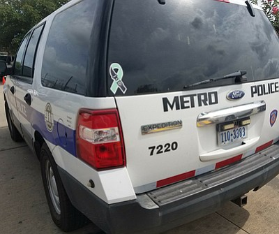 More than 120 METRO police vehicles will proudly display teal ribbon decals to show the agency's support and promote awareness of the foundation's safety message.