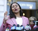 London Breed speaks to reporters outside of City Hall Wednesday, June 13, 2018 in San Francisco. (AP Photo/Lorin Eleni Gill)