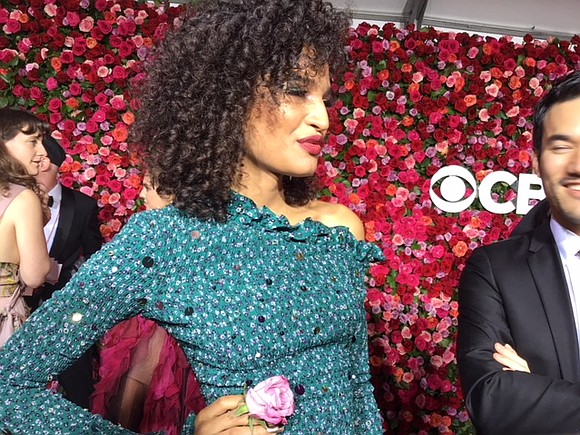 "Fashion designer Joseph Altuzarra walked actress Indya Moore, from the upcoming show ""Pose,"" down the Tony carpet."