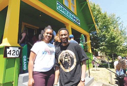 Nicole Kennedy and Karanja Crews are business partners for their new Green Hop dispensary in northeast Portland. The owners are pledged to give back to the community by running training and internship programs for young African Americans wanting to find employment in the legal cannabis industry which under represents blacks.