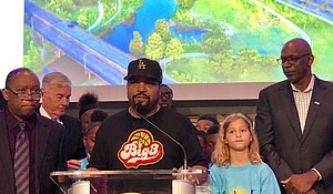 Ice Cube with Mayor Sylvester Turner and Clyde Drexler at Big3 Press Conference